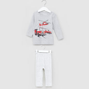 Printed Long Sleeves T-Shirt and Pyjama Set