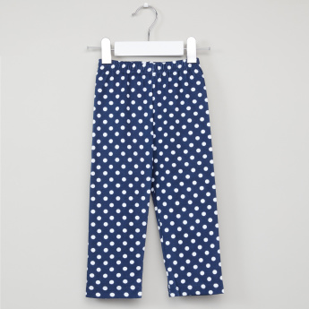Juniors Long Sleeves T-Shirt and Polka Dot Printed Pyjama Set