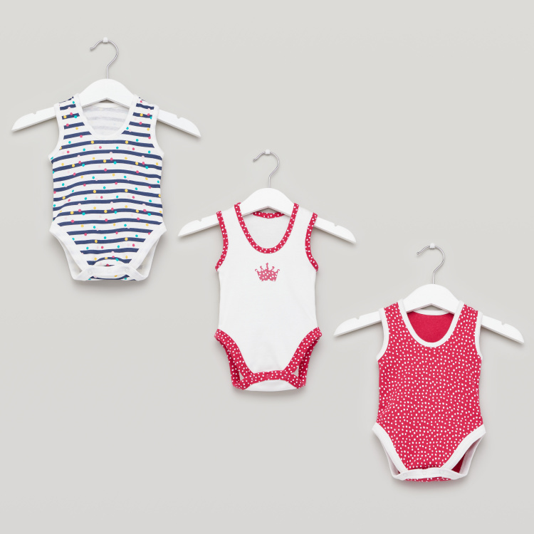 Juniors Printed Sleeveless Bodysuit with Round Neck - Set of 3