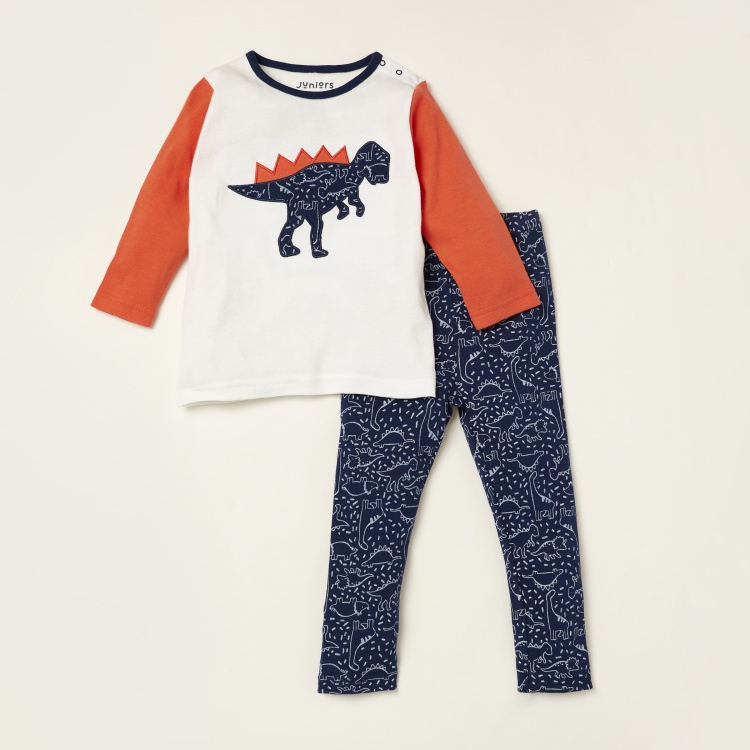 Juniors Embroidered Detail Long Sleeves T-shirt and Printed Pyjama Set