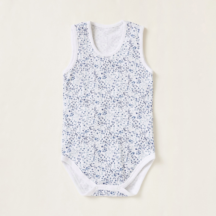 Juniors Print Sleeveless Round Neck Bodysuit - Set of 3