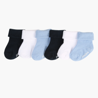 Juniors Ribbed Socks with Roll Down Cuff - Set of 6