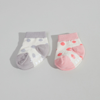 Juniors 2-Piece Polka-Dot Printed Ankle Length Socks