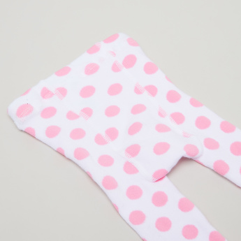 Juniors Polka Dot Printed Tights with Elasticised Waistband