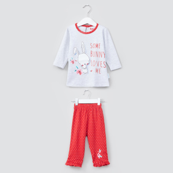 Juniors Printed Long Sleeves T-Shirt and Frill Detail Pyjama Set