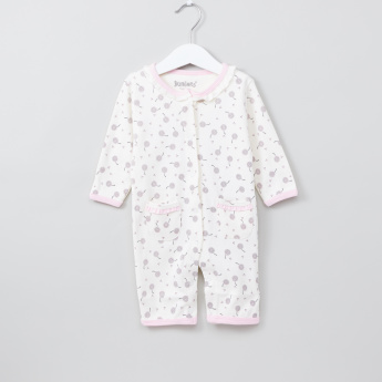 Printed Long Sleeves Open Feet Sleepsuit