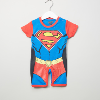 Superman Printed Short Sleeves Romper