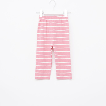 Juniors Printed Top and Striped Pyjama Set