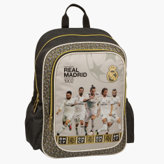 Real Madrid Printed Backpack with Zip Closure and Adjustable Straps