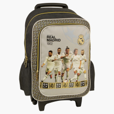 Real Madrid Printed Trolley Backpack - 18 Inches