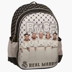 Real Madrid Printed Backpack with Zip Closure and Adjustable Straps - 16 inches