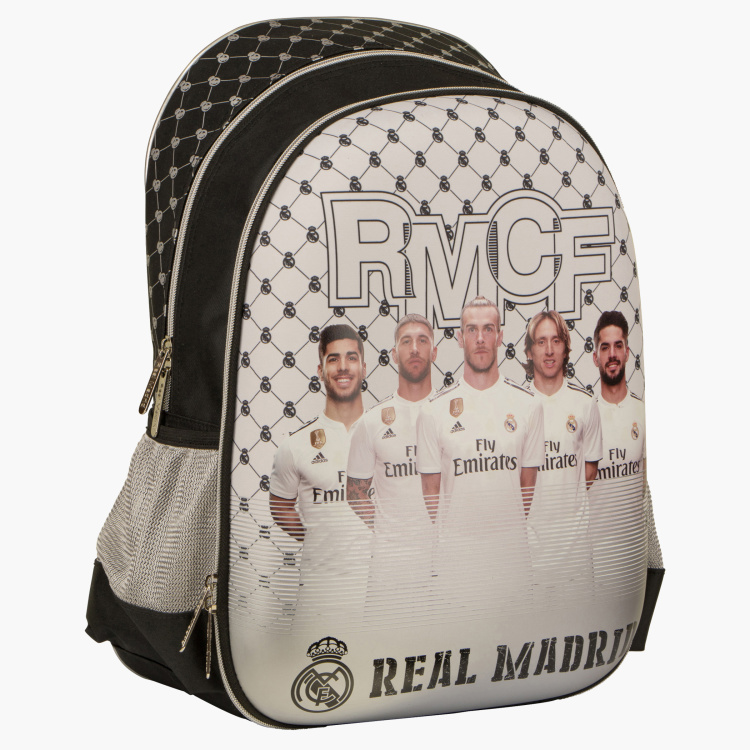 Real Madrid Printed Backpack with Side Pockets - 18 inches