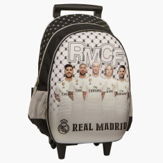 Real Madrid Printed Trolley Bag with Side Pockets - 18 inches