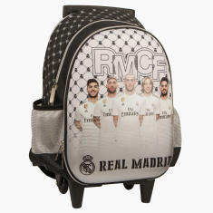 Real Madrid Printed Trolley Bag with Side Pockets - 16 inches