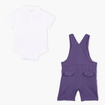 Giggles Polo Neck Romper with Dungarees