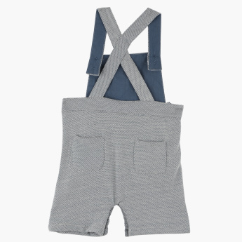 Giggles Textured Dungarees with Button Closure