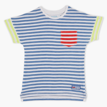 Juniors Striped Round Neck Extended Sleeves T-Shirt