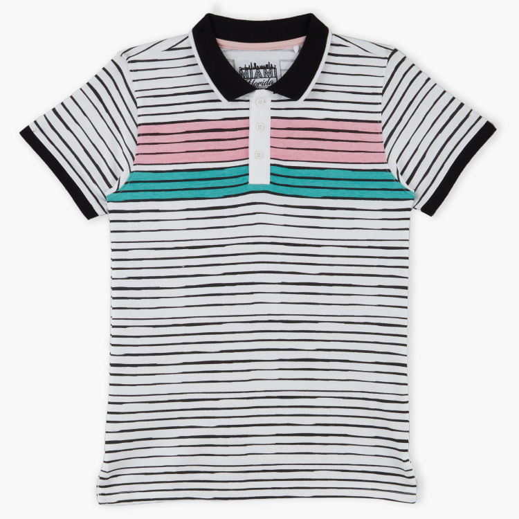 Posh Striped Polo Neck T-Shirt