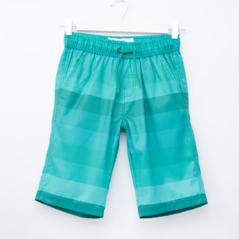 Posh Striped Shorts with Elasticised Waistband and Drawstring