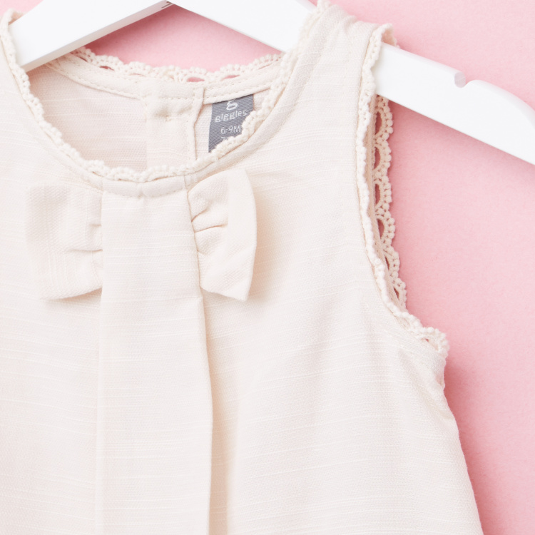 Giggles Lace and Bow Detail Sleeveless Top