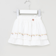 Giggles Embroidered Skirt with Elasticisied Waistband