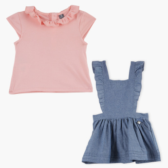 Giggles Frilled Collar Top with Denim Pinafore Dress
