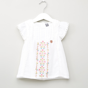 Giggles Embroidered Top with Printed Leggings