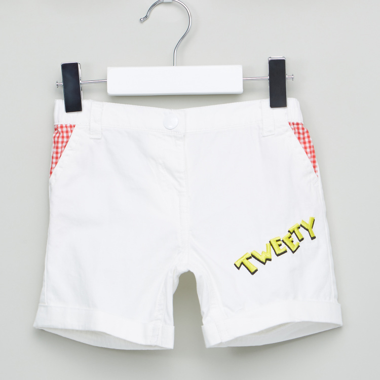 Tweety Embroidered Shorts with Pocket Detail and Button Closure