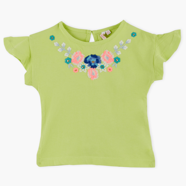 Juniors Embroidered Round Neck T-Shirt