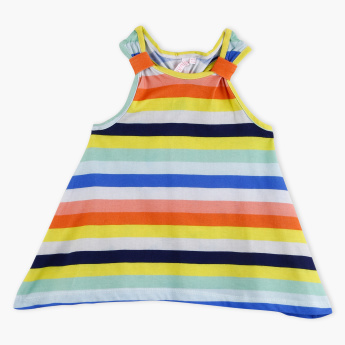 Juniors Striped Sleeveless Racer Back T-Shirt