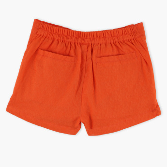 Juniors Textured Shorts with Tie Ups and Elasticised Waistband