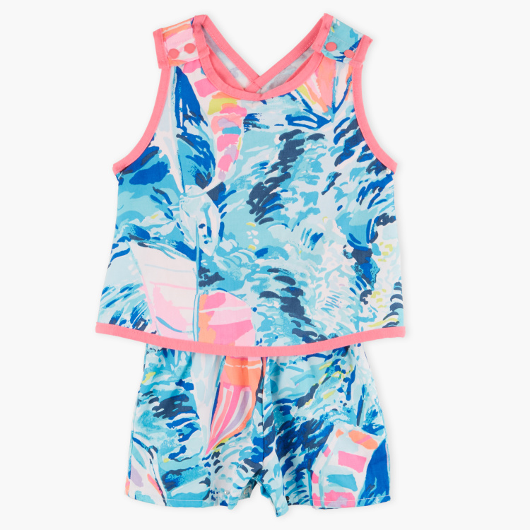 Juniors Printed Sleeveless Playsuit