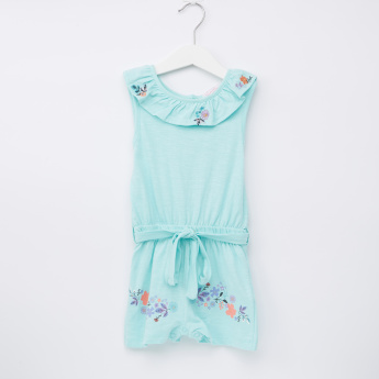 Juniors Printed Sleeveless Romper
