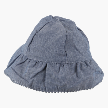 Eligo Textured Hat with Bow Detail and Printed Lining
