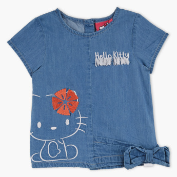 Hello Kitty Embroidered Bow Detail Denim Top