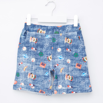 Minions Printed Shorts with Pocket Detail and Elasticised Waistband