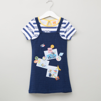 Minions Printed T-Shirt with Dungarees