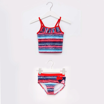 Juniors Striped 2-Piece Tankini Set