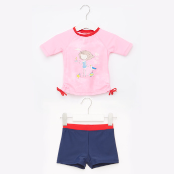 Juniors Printed Round Neck T-Shirt with Shorts