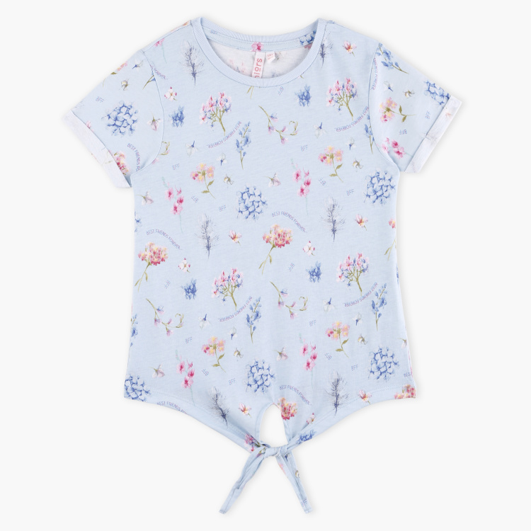 Juniors Floral Printed Short Sleeves Top