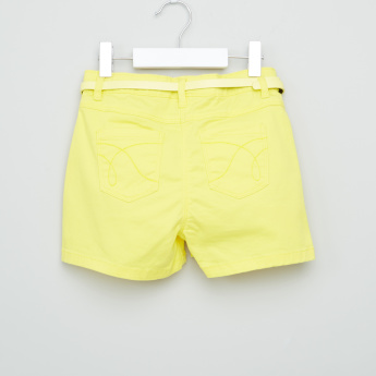 Juniors Embroidered Denim Shorts with Pocket Detail and Belt