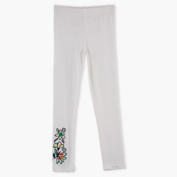 Juniors Floral Embroidered Leggings with Elasticised Waistband