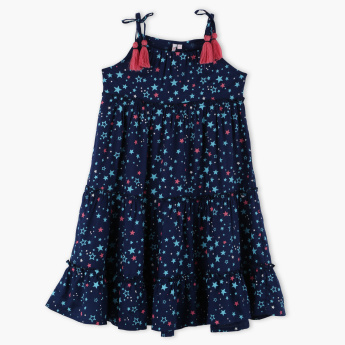 Juniors Printed Tie Up Detail Dress