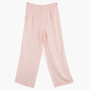 Posh Striped Culottes with Button Closure
