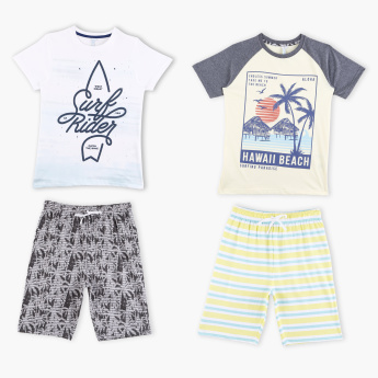 Juniors Printed T-Shirt with Bermuda Shorts - Set of 2
