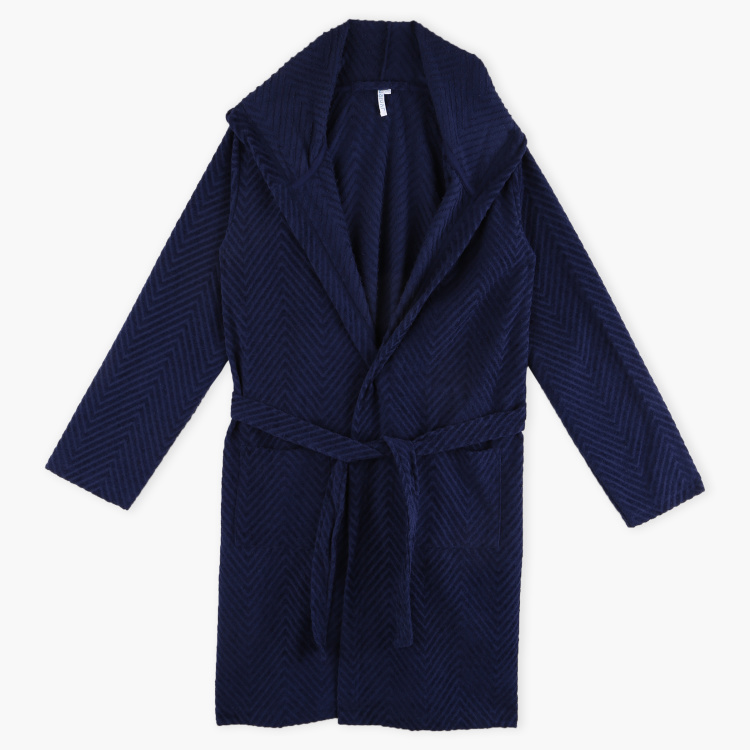 Juniors Striped Bathrobe with Hood