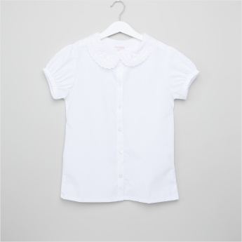 Juniors Lace Detail Short Sleeves Shirt