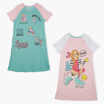 Juniors Printed Round Neck Raglan Sleeves Sleep Dress - Set of 2