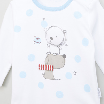 Juniors Printed Round Neck T-shirt and Striped Pyjama Set