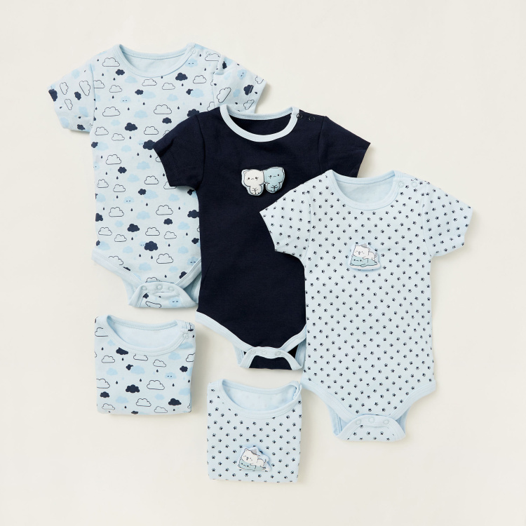 Juniors Printed Bodysuit with Round Neck and Short Sleeves - Set of 5